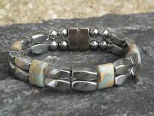 Men's Womens Silver Magnetic Hematite Bracelet Anklet Necklace w 15x5 AQUA TERRA