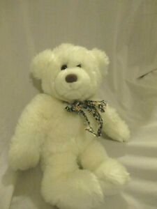 "Gund Heads And Tales  White Teddy Bear Plush Length 15"" Floral Bow 15"""
