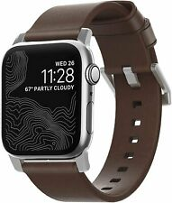 Nomad Strap for Apple Watch 40mm/38mm | Rustic Brown Leather | Silver Hardware