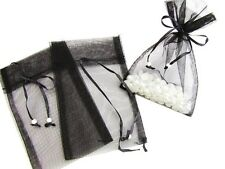 """100 Pearl Bead Organza Gift Bags 4x6"""" Wedding Favors Pouch/Party PO-2 Black"""