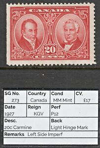 1812 CANADA: SG273 20c Carmine. 1927. Left Side Imperf. MM Mint. c£17
