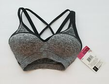 Fruit of the Loom Sports Bra Racerback Lined New with Tags Gray/Black XSmall