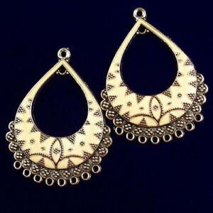 2Pcs Carved Tibetan silver Enamel White Teardrop Pendant Bead R55094