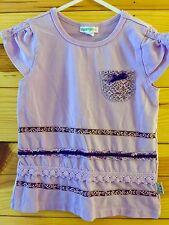 *NAARTJIE* Girls Lilac Purple Top w/Pocket & Crochet Lace Ruffled Trim Size 6