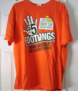 SUBWAY Employee Shirt $5 Footlongs ORANGE XL Every Day Value Menu