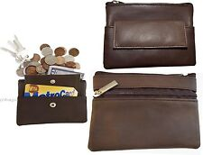 Lot of 3 Leather change purse, Zip coin Case 3 pocket purse wallet w/key ring BN