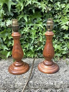 BHS PAIR OF SMALL WOODEN TABLE LAMPS ~ SHABBY CHIC