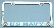 US NAVY - License Plate Frame With Logos Stainless Steel Plain