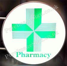"""LED 70cm 28"""" 2-Sided Illuminated Pharmacy Green Cross Sign LED"""