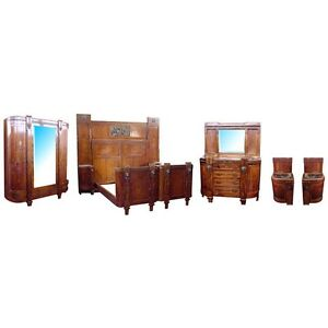 Italian 5-Pc. Inlaid Art Deco Bedroom Suite, Antique  c. 1930 #5151