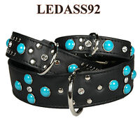 LEDASS92 Lederhalsband Hundehalsband NIKA schwarz Türkis Nieten ab 30,95.-€ Stck