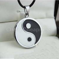 Yin Ying Yang Pendant Black White Necklace Charm with Black Leather Cord Z