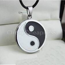 Yin Ying Yang Pendant Black White Necklace Charm with Black Leather Cord ;E PL