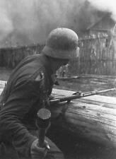 WWII B&W Photo German Soldier Grenade Russia  WW2 World War Two Wehrmacht  /2067