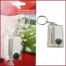Travel Thermometer & Compass Keyring Chain Ring Outdoor Camping Key Tag Holder