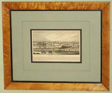 ANTIQUE BIRDSEYE MAPLE FRAME RAILROAD PRINT NORRISTOWN, PA 1800's LAND&CITY VIEW