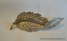 Vintage Sarah Coventry Embossed Gold Tone Leaf Shape Rhinestone Pin or Brooch