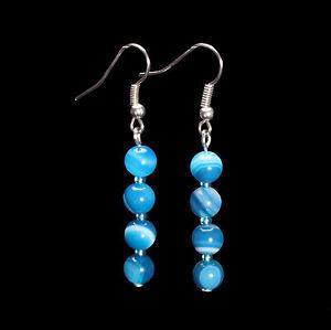 Blue Striped Agate Earrings