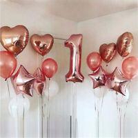 14Pc Rose Gold Heart Balloon Foil Balloon Latex Ballon for Birthday Party Decor