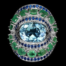 Oval Sky Blue Topaz 11x9mm Green Emerald Blue Cz 925 Sterling Silver Ring Size 7