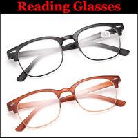 Half Frame Retro Reading Glasses 1.0 to 3.5 Unisex Mens Ladies Trendy Designer