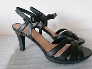 CLARKS ADRIEL WAVY WOMENS BLACK LEATHER SOFT CUSHION HEEL SANDALS UK SIZE 5.5