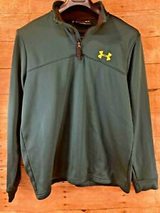 ⭐️MINT⭐️ UNDER ARMOUR COLD GEAR LS 1/4 ZIP JACKET GREEN YELLOW ACCENTS WOMEN'S M