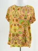 H&M Women's Orange & Yellow Floral Print Short Sleeve Blouse Size 10