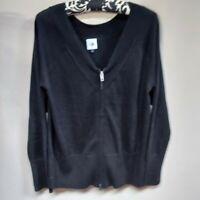 Cabi Women's Cotton V Neck Zip Up Cardigan Ribbed-Cuff Sweater Black Size Medium