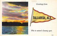 Alabama Al Postcard Linen TALLADEGA Pennant Greetings from