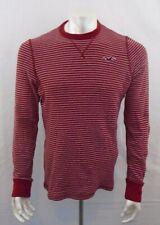 Hollister Men's Red Gray Striped Long Sleeve Waffle Crew Neck Shirt Size Medium