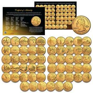 1999-2009 COMPLETE SET of ALL 56 Statehood U.S. Quarters 24K GOLD PLATED Coins