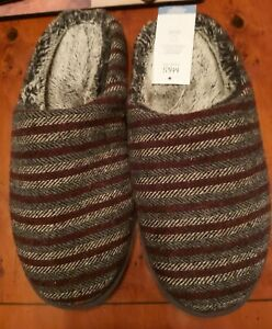 BNWT! M&S Grey / Maroon Stripe cosy fleece lined mule slippers - Mens Size 10