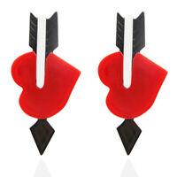 Fashion Women Heart Elegant acrylic Earrings Long Stud Drop Dangle Earring