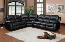 BLACK BONDED LEATHER RECLINING SOFA 4 (FOUR) RECLINER SECTIONAL FURNITURE SET