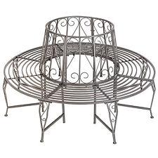 Garden tree bench seat round steel circular antique furniture half anthracite