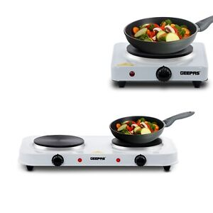 Geepas Double Single Electric Hot Plate Portable Table Top Cooker Hob 1000/2000W