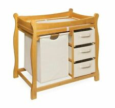 Badger Basket Sleigh Style Natural Wood Changing Table With Hamper And Baskets