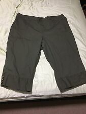 Dark Army Olive Khaki Green Plus Size 24W 3/4 Cotton Blend Cargo Pants