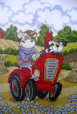 DMC counted cross stitch kit Cruising Cow and dog on a Tractor 14 ct aida