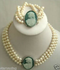3 row 7-8mm White Akoya Pearl Cameo Necklace Bracelet