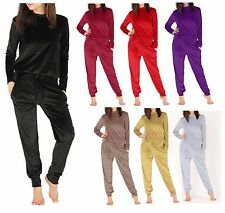 New Womens Velvet velour plain tracksuit PLUS 2 pieces lounge wear jogging suit