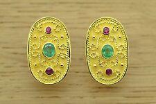 925 Sterling Silver Greek Earring Emerald Ruby Etruscan Byzantine Style