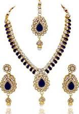 Indische Bollywood Mode Hochzeit Gold überzogene Halskette Set Brautschmuck 2035