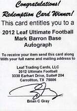 2012 Leaf Ultimate Draft Base Auto MARK BARRON Buccaneers Alabama Redemption HOT