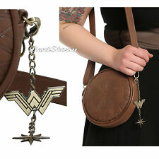 "Licensed WONDER WOMAN MOVIE DC Comics SHIELD Crossbody Bag Purse With ""W"" Charm"