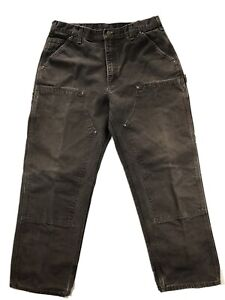Carhartt B138 Double Front Utility Duck Canvas Brown Mens 36x30 Pants