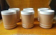 Insulated Tumblers by Morgan Set of 6 Vintage Inspired Tan and White