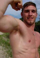 Shirtless Male Beefcake Muscular Hunk Flexing Bicep Jock Dude PHOTO 4X6 D436