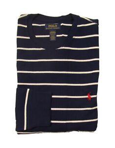 Polo Ralph Lauren Men's Navy/White Stripe Waffle Knit Thermal Long Sleeve Shirt
